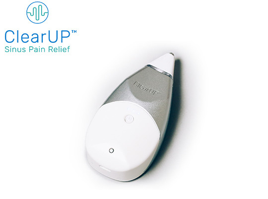 ClearUP™ by Tivic Health is a small, handheld bioelectronic device that uses low-current electrical stimulation for sinus relief.